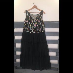 Lane Bryant size 14 embroidered black maxi dress